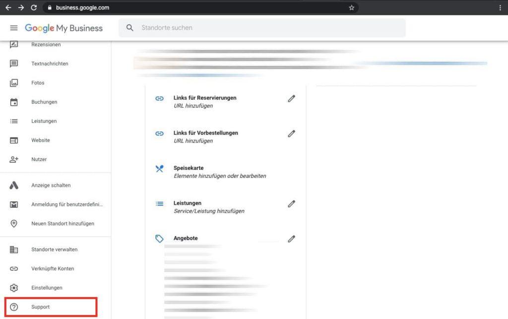 """Google My Business Eintrag ändern in """"vorübergehend Geschlossen"""" - Support öffnen"""
