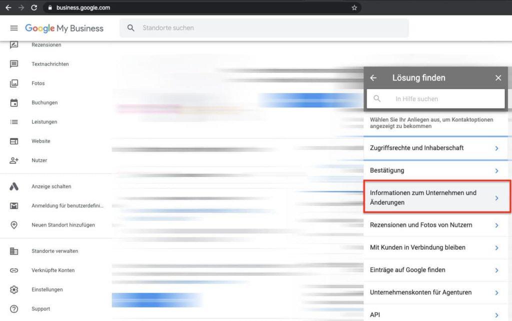 """Google My Business Eintrag ändern in """"vorübergehend Geschlossen"""" - Formular finden 2"""