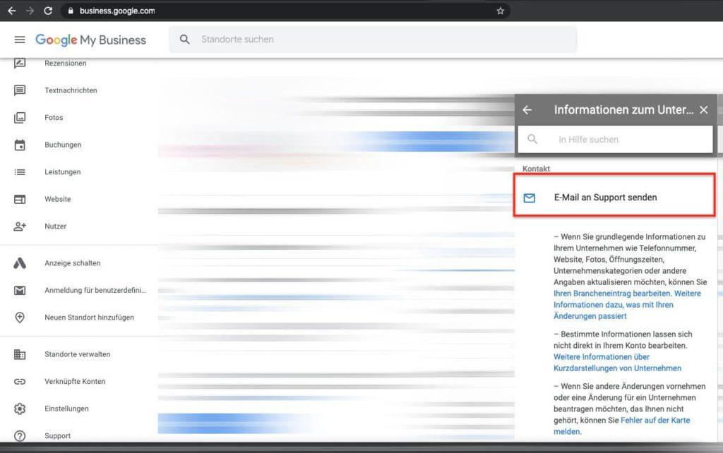 """Google My Business Eintrag ändern in """"vorübergehend Geschlossen"""" - E-Mail an Support senden"""