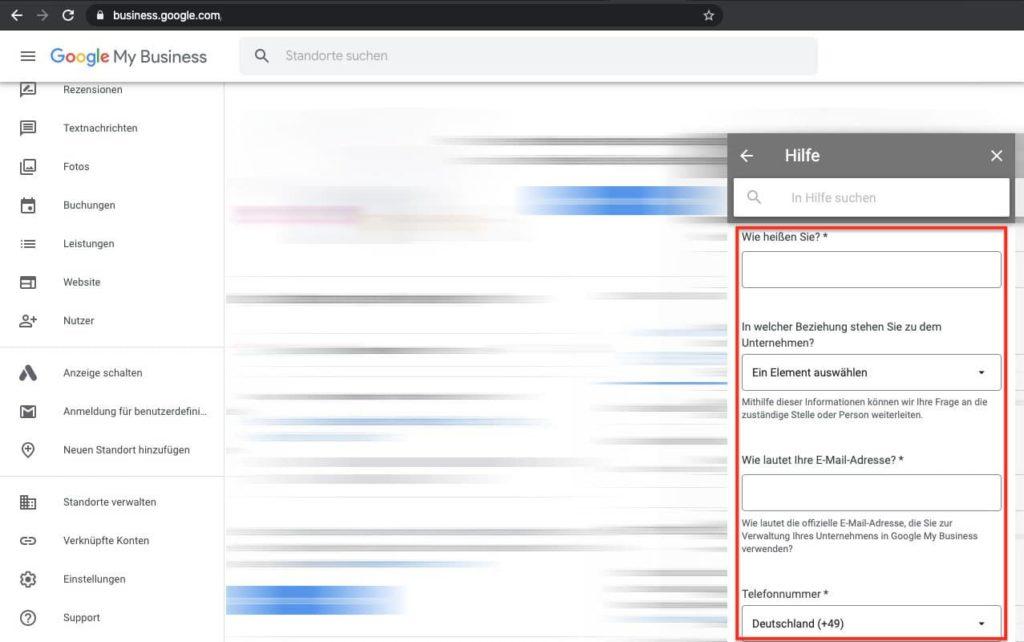 """Google My Business Eintrag ändern in """"vorübergehend Geschlossen"""" - Support Formular ausfüllen"""