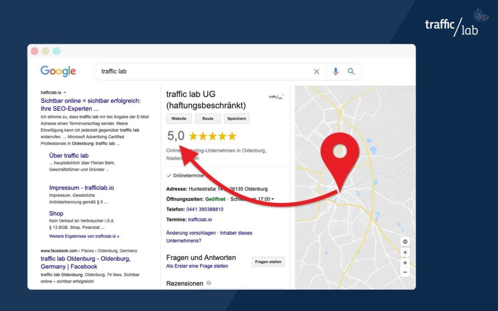 Local SEO Google Local Losting mit Bewertung