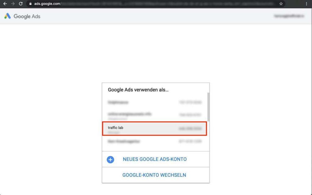 Agentur zu Google Ads hinzufügen - Traffic Lab - SEM Agentur in Oldenburg
