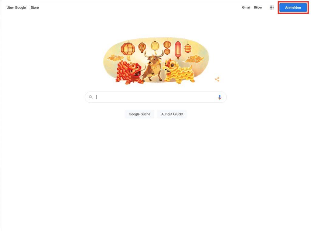 Google aufrufen - Google Konto mit aktueller E-Mail Adresse erstellen