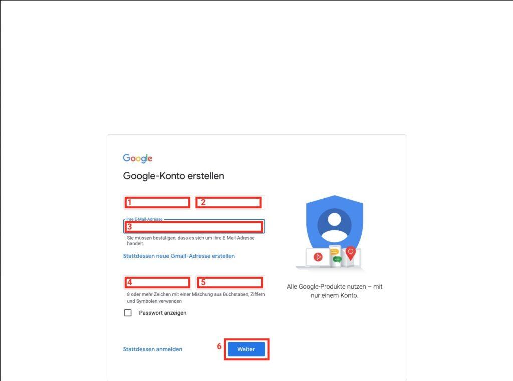 Anmeldung abschließen - Google Konto mit aktueller E-Mail Adresse erstellen
