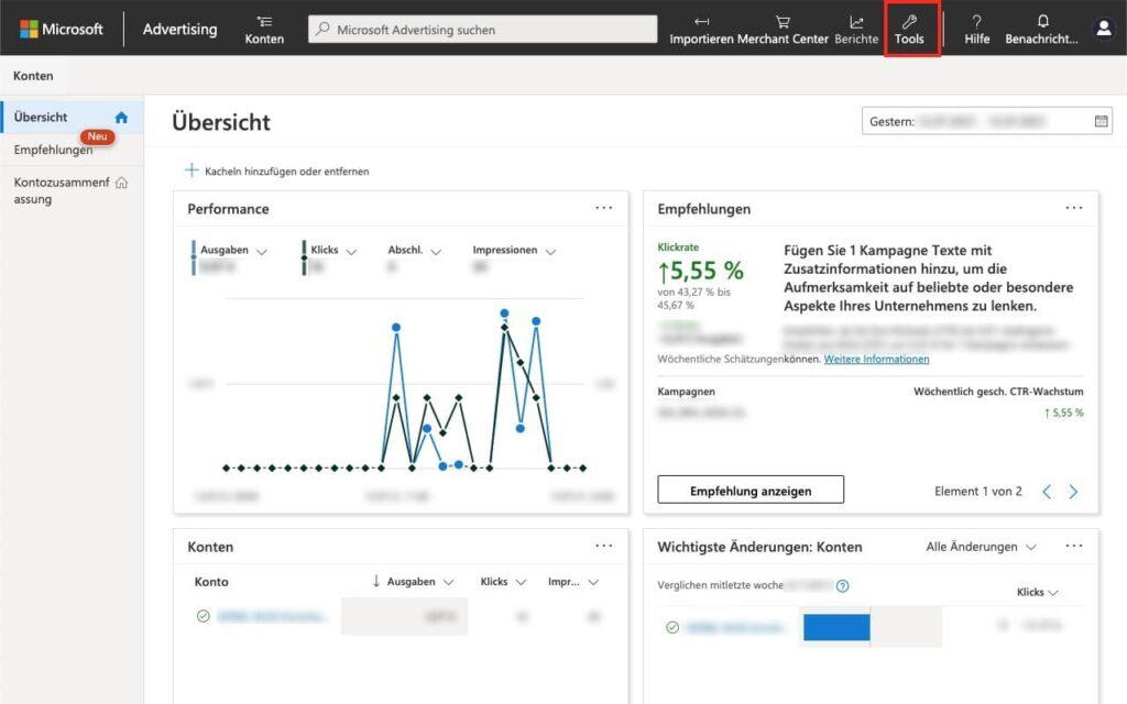 Tools auswählen - Agentur zu Microsoft Advertising - Bing Ads - hinzufügen
