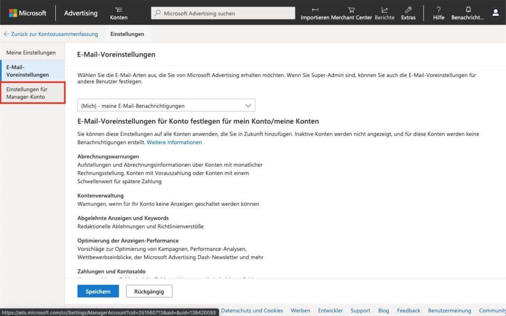 Manager Konto Einstellungen öffnen - Agentur zu Microsoft Advertising - Bing Ads - hinzufügen