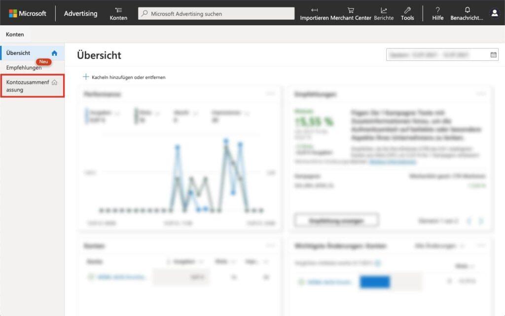 Kontozusammenfassung öffnen - Agentur zu Microsoft Advertising - Bing Ads - hinzufügen