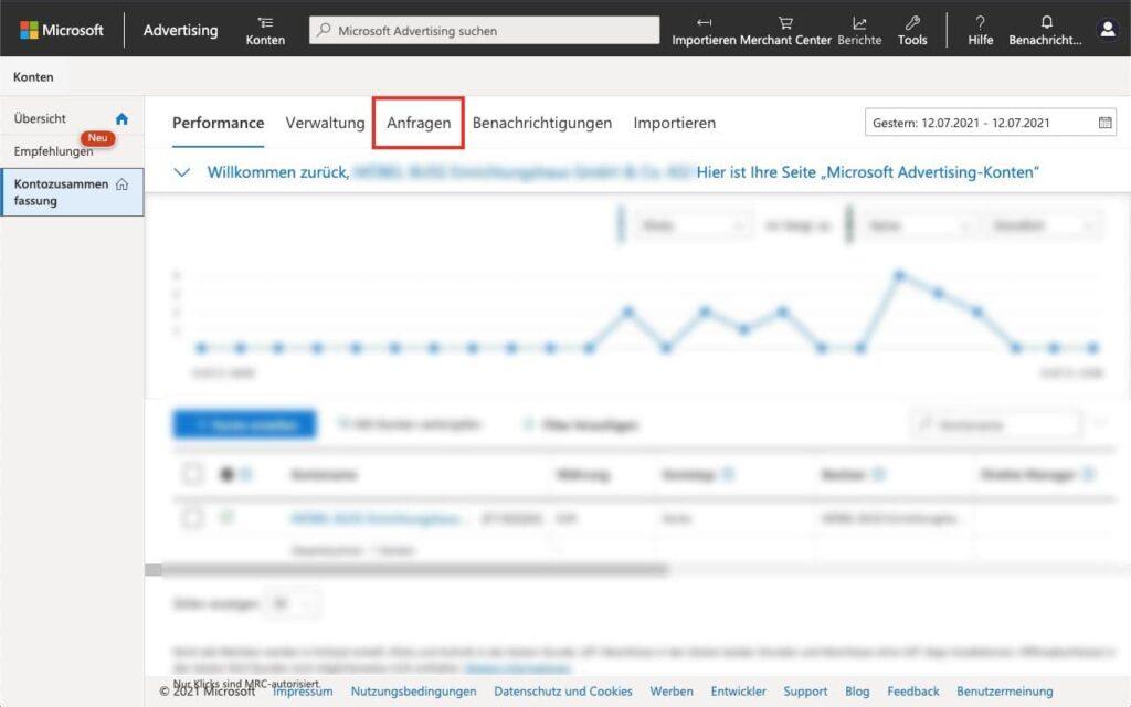Anfragen - Agentur zu Microsoft Advertising - Bing Ads - hinzufügen